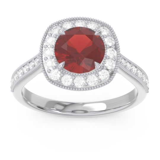 Halo Pave Milgrain Drumara Garnet Ring with Diamond in 18k White Gold