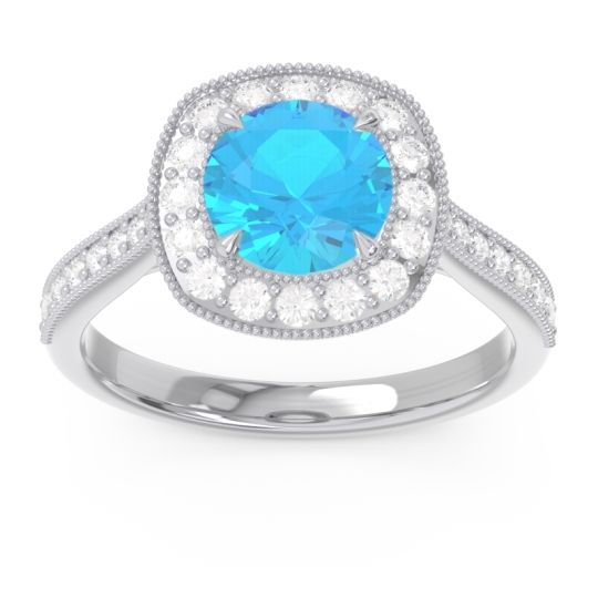 Swiss Blue Topaz Halo Bezel Pave Paksman Ring with Diamond in 18k White Gold
