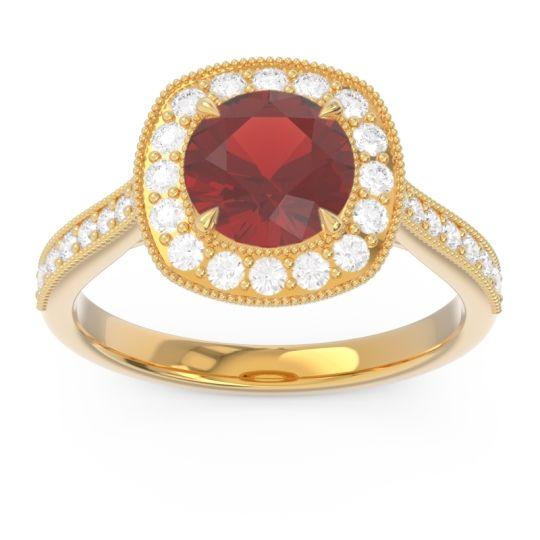 Halo Pave Milgrain Drumara Garnet Ring with Diamond in 14k Yellow Gold