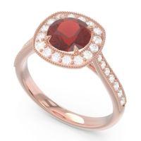 Halo Pave Milgrain Drumara Garnet Ring with Diamond in 14K Rose Gold