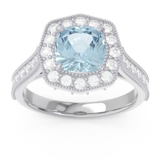 Halo Pave Milgrain Bhraamara Aquamarine Ring with Diamond in Palladium