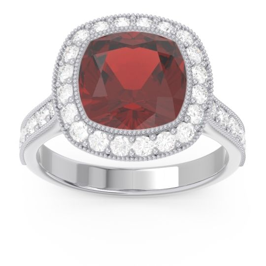 Garnet Halo Milgrain Cushion Tugga Ring with Diamond in 14k White Gold