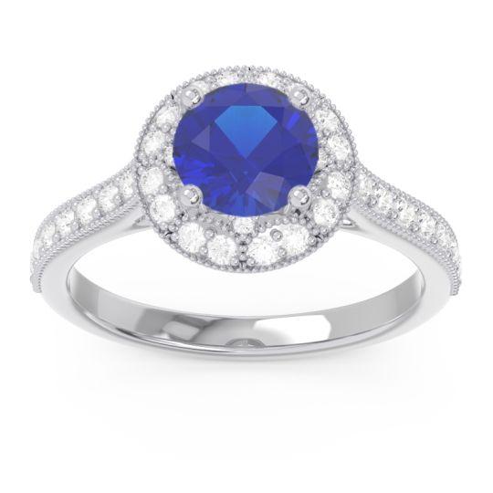 Blue Sapphire Halo Milgrain Pave Savitri Ring with Diamond in 14k White Gold