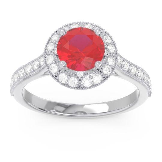 Halo Milgrain Pave Savitri Ruby Ring with Diamond in 14k White Gold