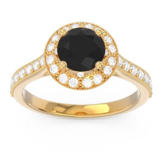 Black Onyx Halo Milgrain Pave Savitri Ring with Diamond in 18k Yellow Gold