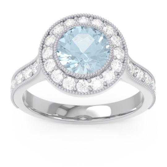 Halo Milgrain Pave Vedi Aquamarine Ring with Diamond in 14k White Gold