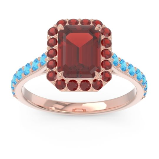 Garnet Halo Pave Emerald Cut Maragata Ring with Swiss Blue Topaz in 14K Rose Gold