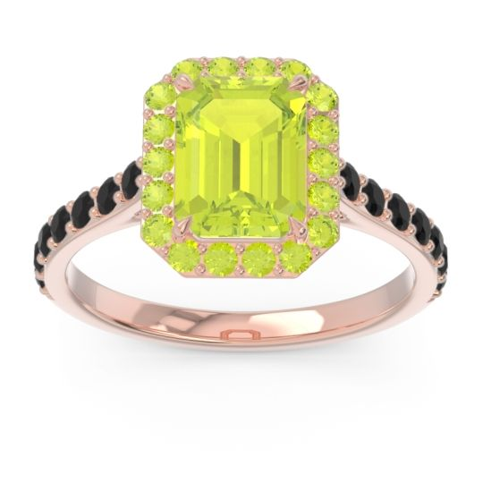 Halo Pave Emerald Cut Maragata Peridot Ring with Black Onyx in 18K Rose Gold