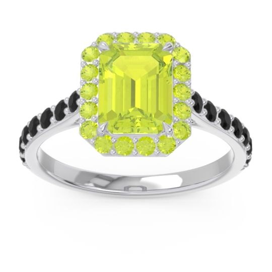 Peridot Halo Pave Emerald Cut Maragata Ring with Black Onyx in 14k White Gold
