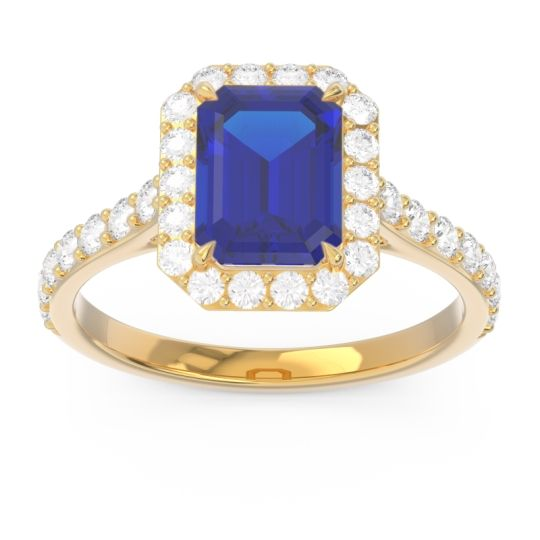 Halo Pave Emerald Cut Maragata Blue Sapphire Ring with Diamond in 14k Yellow Gold