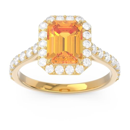 Halo Pave Emerald Cut Maragata Citrine Ring with Diamond in 14k Yellow Gold