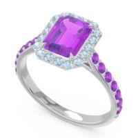 Halo Pave Emerald Cut Maragata Amethyst Ring with Aquamarine in 14k White Gold