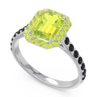 Halo Pave Emerald Cut Maragata Peridot Ring with Black Onyx in 14k White Gold