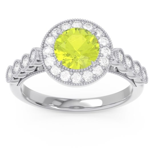 Halo Milgrain Pave Yojana Peridot Ring with Diamond in 14k White Gold