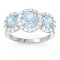 Aquamarine Three Stone Halo Abhra Ring with Diamond in 18k White Gold