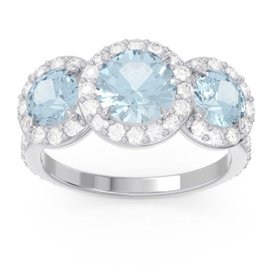 Three Stone Halo Abhra Aquamarine Ring with Diamond in 14k White Gold