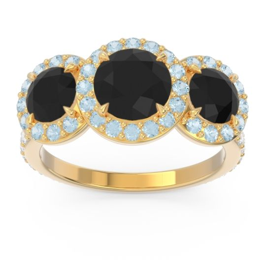 Black Onyx Three Stone Halo Abhra Ring with Aquamarine and Diamond in 14k Yellow Gold