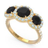 Black Onyx Three Stone Halo Abhra Ring with Aquamarine and Diamond in 14k Yellow Gold