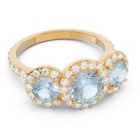 Aquamarine Three Stone Halo Abhra Ring with Diamond in 18k Yellow Gold