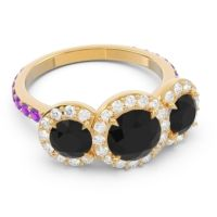 Black Onyx Three Stone Halo Abhra Ring with Diamond and Amethyst in 14k Yellow Gold