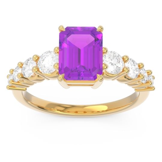 Pave Emerald Cut Vikara Amethyst Ring with Diamond in 14k Yellow Gold