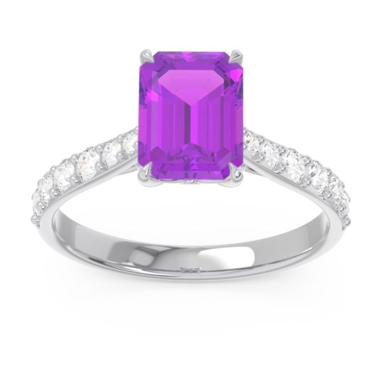 Pave Emerald Cut Nairjhara Amethyst Ring with Diamond in 14k White Gold