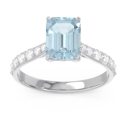Pave Emerald Cut Nairjhara Aquamarine Ring with Diamond in 14k White Gold