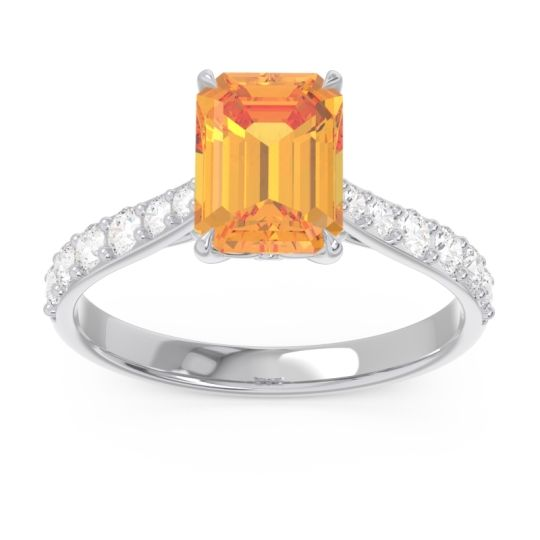 Citrine Pave Emerald Cut Nairjhara Ring with Diamond in 14k White Gold