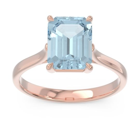 Solitaire Emerald Cut Brhat Aquamarine Ring in 18K Rose Gold
