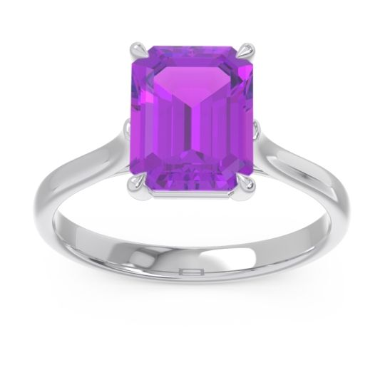 Solitaire Emerald Cut Brhat Amethyst Ring in 14k White Gold