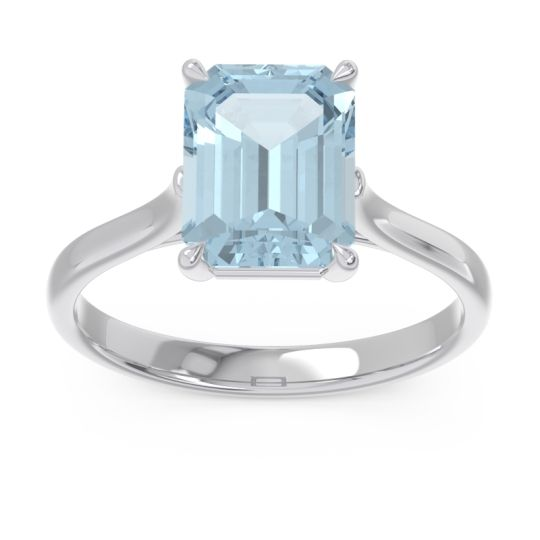 Solitaire Emerald Cut Brhat Aquamarine Ring in 18k White Gold