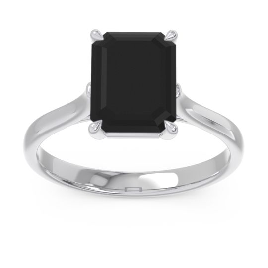 Solitaire Emerald Cut Brhat Black Onyx Ring in 14k White Gold