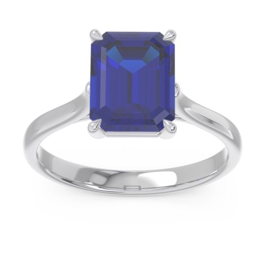 Solitaire Emerald Cut Brhat Blue Sapphire Ring in 14k White Gold