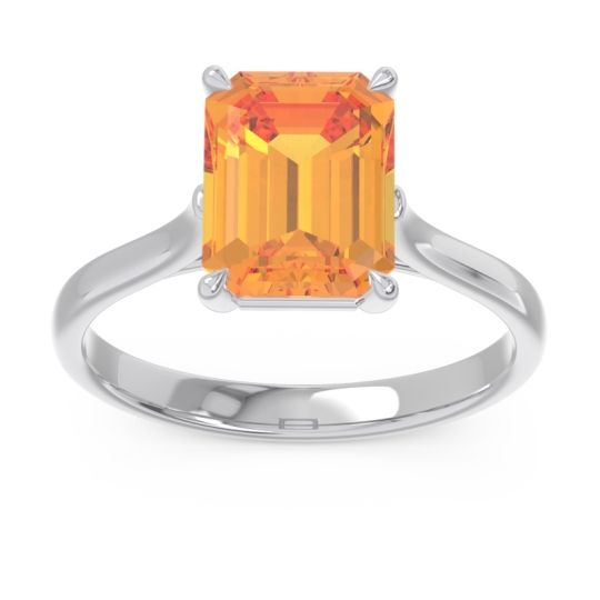 Solitaire Emerald Cut Brhat Citrine Ring in 14k White Gold