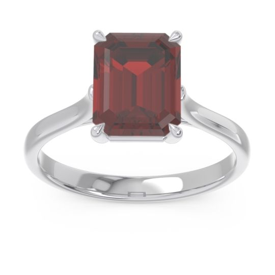 Solitaire Emerald Cut Brhat Garnet Ring in 14k White Gold