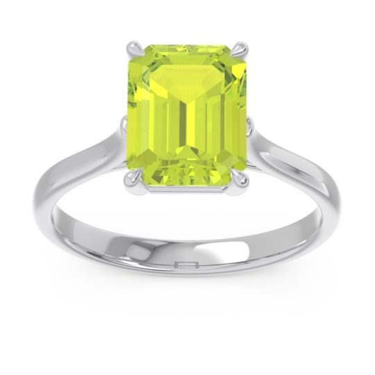Solitaire Emerald Cut Brhat Peridot Ring in 14k White Gold