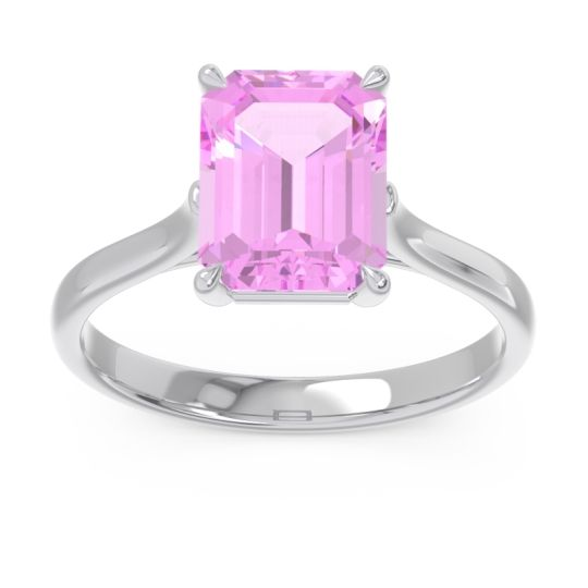 Solitaire Emerald Cut Brhat Pink Tourmaline Ring in 14k White Gold