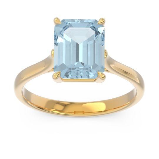Solitaire Emerald Cut Brhat Aquamarine Ring in 18k Yellow Gold