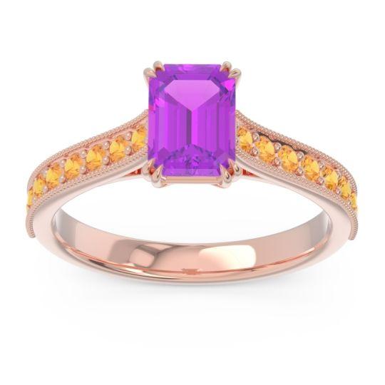 Pave Milgrain Emerald Cut Druna Amethyst Ring with Citrine in 14K Rose Gold