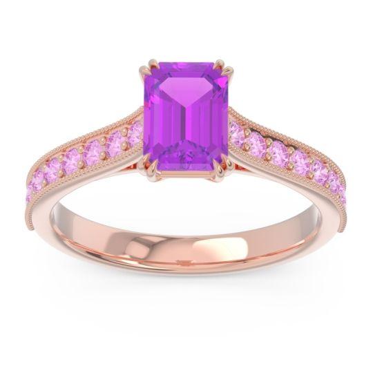 Pave Milgrain Emerald Cut Druna Amethyst Ring with Pink Tourmaline in 18K Rose Gold