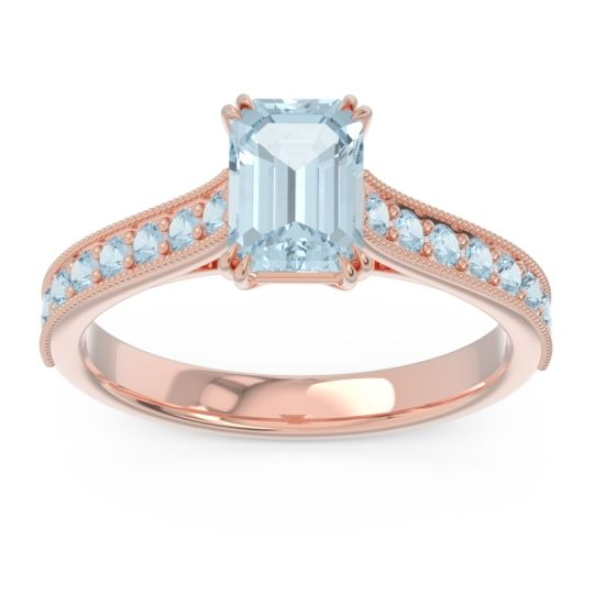 Pave Milgrain Emerald Cut Druna Aquamarine Ring in 18K Rose Gold
