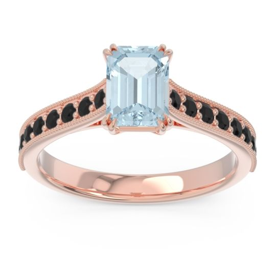 Pave Milgrain Emerald Cut Druna Aquamarine Ring with Black Onyx in 14K Rose Gold