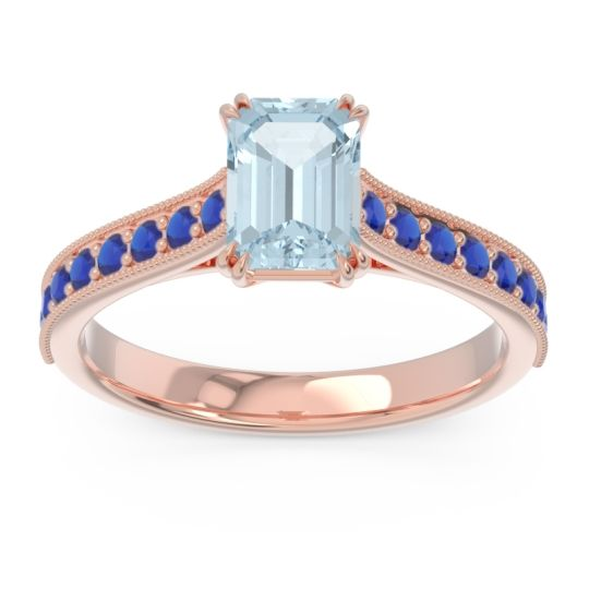 Pave Milgrain Emerald Cut Druna Aquamarine Ring with Blue Sapphire in 14K Rose Gold