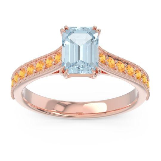 Pave Milgrain Emerald Cut Druna Aquamarine Ring with Citrine in 18K Rose Gold