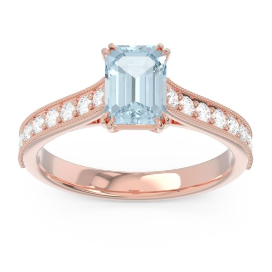 Pave Milgrain Emerald Cut Druna Aquamarine Ring with Diamond in 14K Rose Gold