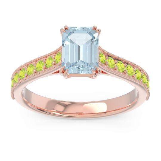 Pave Milgrain Emerald Cut Druna Aquamarine Ring with Peridot in 14K Rose Gold