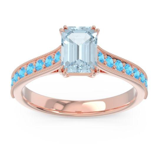 Pave Milgrain Emerald Cut Druna Aquamarine Ring with Swiss Blue Topaz in 18K Rose Gold