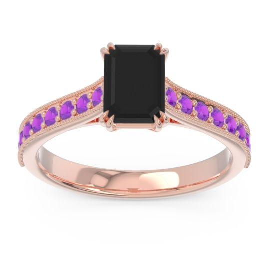Pave Milgrain Emerald Cut Druna Black Onyx Ring with Amethyst in 14K Rose Gold