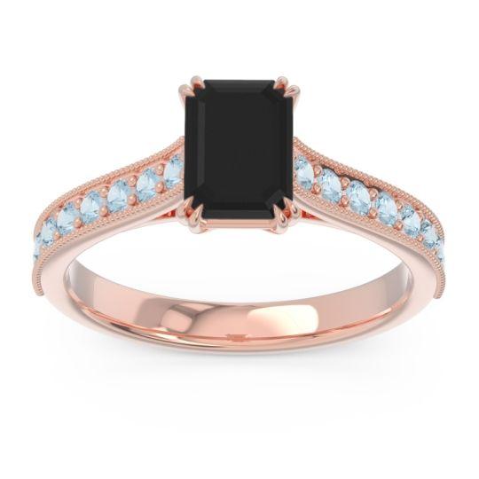 Pave Milgrain Emerald Cut Druna Black Onyx Ring with Aquamarine in 18K Rose Gold