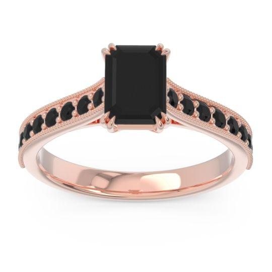 Pave Milgrain Emerald Cut Druna Black Onyx Ring in 18K Rose Gold